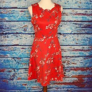 Monteau Spring Red Floral Dress Petite Medium